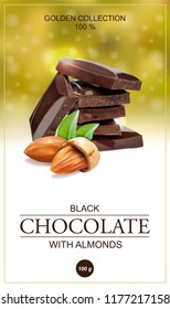 Chocolate label with almonds. Vector illustration