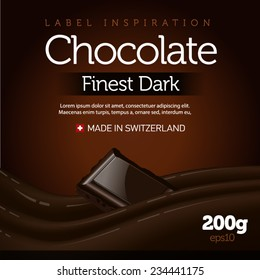Chocolate label with wave and chocolate bar - dark