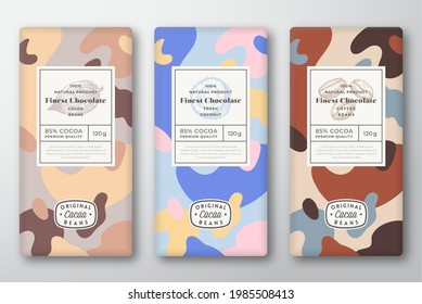 Chocolate Labels Set. Abstract Vector Packaging Design Layouts Collection. Modern Typography, Hand Drawn Cocoa, Coffee Beans and Coconut Sketches and Colorful Camouflage Pattern Background. Isolated.