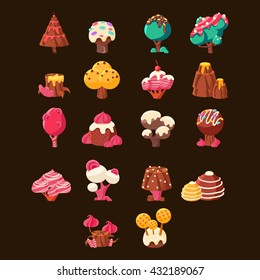 Chocolate Landscape Elements Set On Black Background. Fairy Tale Candy Design Elements. Cute Vector Flash Game