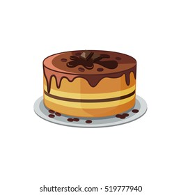 Chocolate layered cake with coffee beans decoration. Vector image of cake in cartoon style. Biscuit cake with brown topping and chocolate pieces on isolated background.
