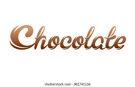 Chocolate letters isolated.