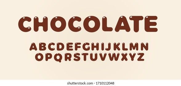 Chocolate letters set. Brown bold style alphabet. Font for candy cover, kids birthday, chokolate drink and food logo, Vector typography design.