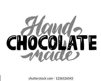 Chocolate logo Hand made - vector illustration, emblem design. Lettering for web, congratulations, promotional pictures news, invitations, postcards, banners, posters