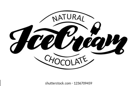 Chocolate logo -ICE CREAM. Vector illustration, emblem design. Lettering for web, congratulations, promotional pictures news, invitations, postcards, banners, posters