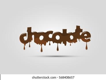 Chocolate logo, word, melting and hot