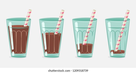 Chocolate milk, cocoa in a glass with a cocktail straw. Vector cartoon set isolated on white background.