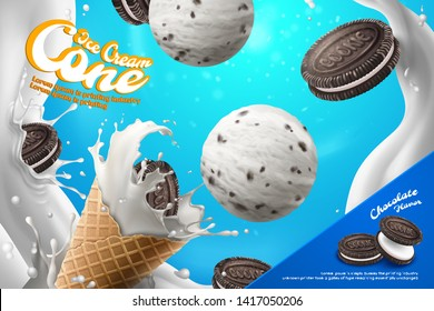 Chocolate milk ice cream cone ads with sandwich cookie and splashing milk in 3d illustration