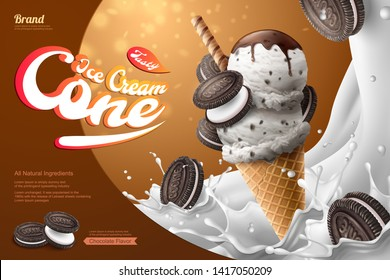 Chocolate milk ice cream cone ads with sandwich cookie and splashing milk in 3d illustration with waffle roll