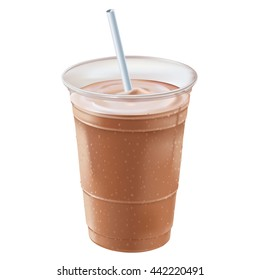 A chocolate or mocha milk shake or smoothie inside a clear plastic container covered with beads of cold condensation standing straight up & down