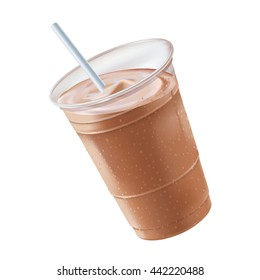 A chocolate or mocha milk shake/smoothie, in a plastic glass with a white straw,  tilting to the left