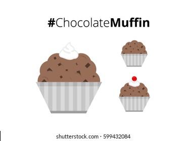 Chocolate Muffin with Cream and Cherry