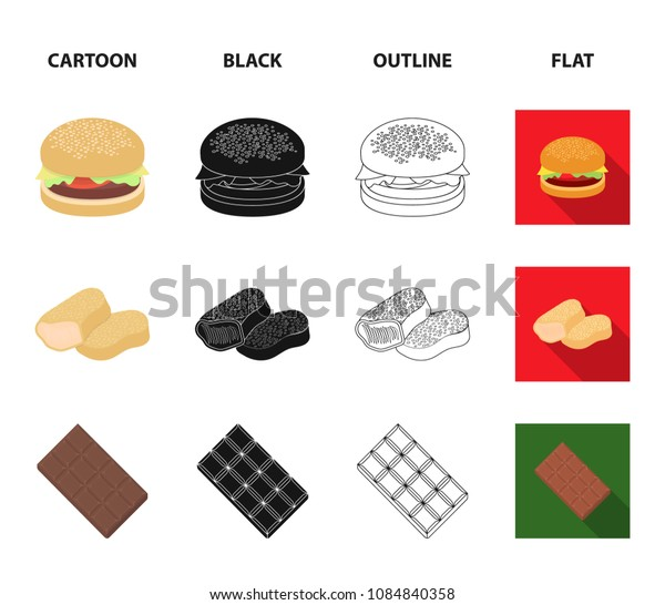Chocolate, noodles, nuggets, sauce.Fast food set collection icons in cartoon,black,outline,flat style vector symbol stock illustration web.