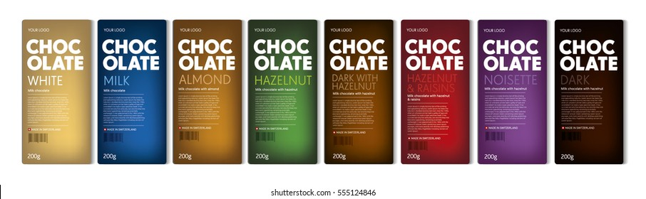 Chocolate. Package. Full range chocolate line. Design concept. Blocks of chocolate on background. Color code. EPS 10. Vector. Hazelnut, almond, raisins taste. Tasty