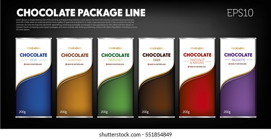 Chocolate package line, different flavor, exclusive, color code