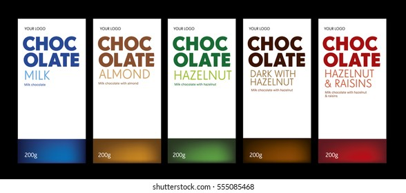 Chocolate package line, different flavor, exclusive, color code.White background.Ready for package design. Glossy.Hazelnut, almond,raisins taste. EPS 10