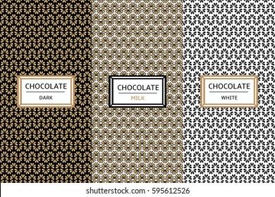 Chocolate Packaging design set. Vector collection of patterns for dark, milk and white chocolate package. Labels or tags for organic cocoa products, sweet desserts, cafe and candy shop.