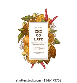 Chocolate packaging design template. Engraved style illustration. Tangerine, pepper, cocoa, chocolate, pistachio. Vector illustration