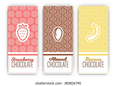 Chocolate Packaging Set - Collection of vertical designs of strawberry, almond, and banana flavoured chocolate bars - mono line style pattern and icon designs
