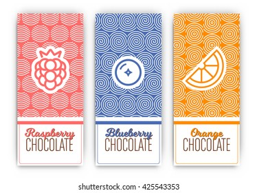 Chocolate Packaging Set - Collection of vertical designs of raspberry, blueberry, and orange flavoured chocolate bars - mono line style pattern and icon designs