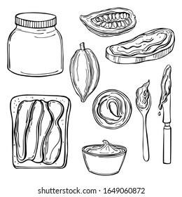 Chocolate paste set. Vector sketch illustration