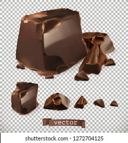 Chocolate pieces, 3d vector set