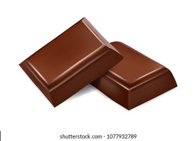 Chocolate pieces isolated. 3d realistic vector image