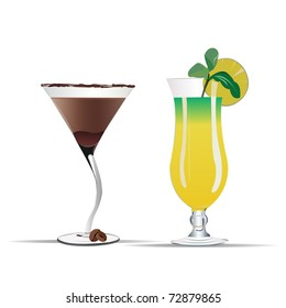 chocolate and pineapple cocktail vector illustration
