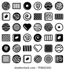 Chocolate pralines candies icon collection - vector outline illustration and silhouette