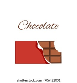 Chocolate with red wrap, vector object, Bitten chocolate template - stock vector