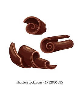 Chocolate shavings icons. Curl, spiral, confectionary ingredient vector illustration. Chocolate shaving for ad design confectionery shop.
