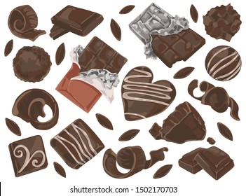 Chocolate shavings and pieces doodle set. Vector illustration design.