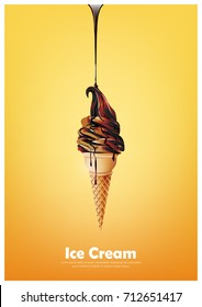 Chocolate soft ice cream cone, Pour melted chocolate syrup, Vector illustration
