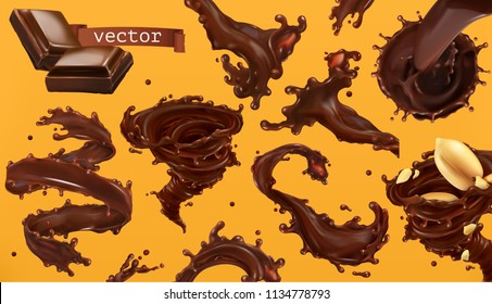 Chocolate splash. 3d realistic vector icon set
