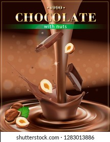 Chocolate splash with hazelnuts and chocolate pieces. Vector realistic illustration.