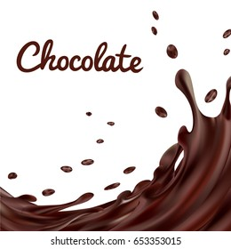 Chocolate splashes background. Brown hot coffee or chocolate with drops and bolts isolated on white background, vector 3d illustration
