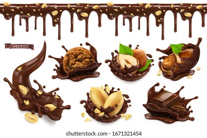 Chocolate splashes with peanuts, hazel nuts, chocolate cookies. 3d vector realistic food objects set