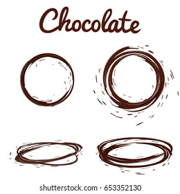 Chocolate splashes set. Brown hot coffee or chocolate round circle splashes with drops and bolts set isolated on white background, vector 3d illustration