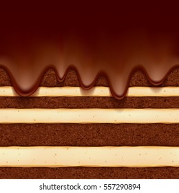 Chocolate sponge cake with vanilla cream filling and chocolate flow background. Colorful seamless texture. Vector illustration. Good for bakery menu design - poster banner flyer packaging.