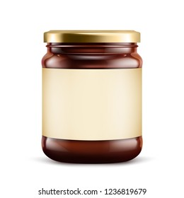 Chocolate spread in jar on white background. Vector illustration