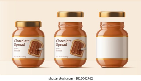 Chocolate spread package design, set of glass bottles isolated on beige background in 3d illustration