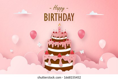Chocolate Strawberry Cake with balloon on birthday greeting card, Paper cut style
