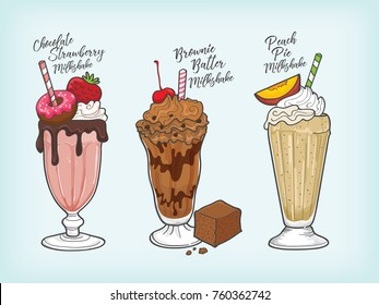 chocolate strawberry milkshake vector
