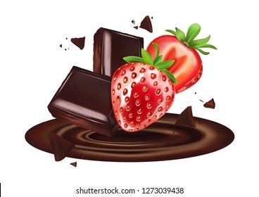 Chocolate and Strawberry with slice of piece in the middle isolated on solid color background, Vector realistic in 3d illustration. Food concept.
