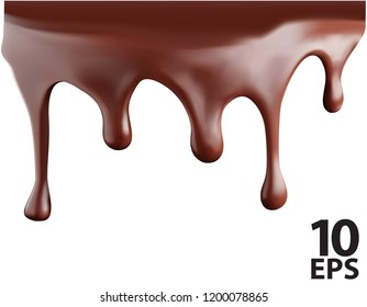 Chocolate streams isolated on white. Vector 3d illustration