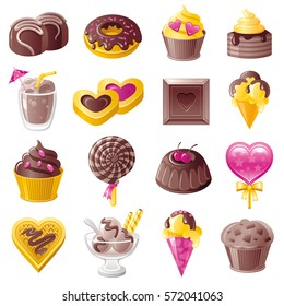 Chocolate sweet dessert icons. Healthy organic food vector icon set. Dieting meal flat symbol illustration - candy, donut, cupcake, cake, milk shake, biscuits, ice cream, lollipop, waffle, muffin