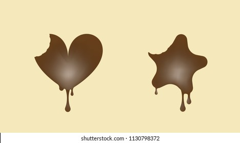 The chocolate sweet in the shape of hearts and stars. Milk vector illustration.