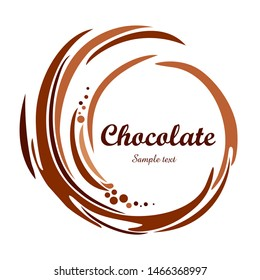 Chocolate swirl background. Cream texture. Liquid chocolate close-up. Textured dark chocolate. Melted chocolate swirl background. Splash.  Icon Pictogram. Vector Illustration