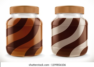 Chocolate swirl in glass jar. 3d vector realistic mockup