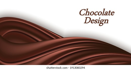 Chocolate swirl wavy background. Ceamy chocolate wave border for banner or poster design. Smooth color flow with realistic glossy texture. Vector illustration,